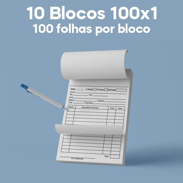 01 -  QTDE: 10UNID. / BLOCOS E TALOES/100 FOLHAS/AP 56G/100X1/150X105MM
