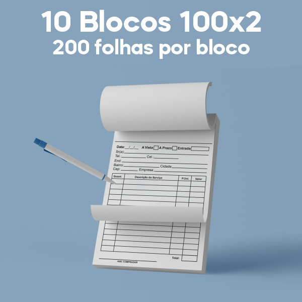 01 -  QTDE: 10UNID. / BLOCOS E TALOES/100 FOLHAS/AP 75G/100X2/150X105MM