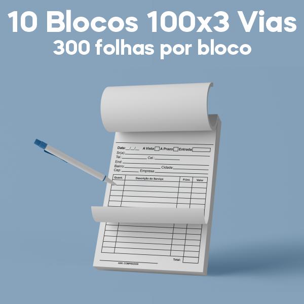 01 -  QTDE: 10UNID. / BLOCOS E TALOES/100 FOLHAS/AP 75G/100X3/300X210MM
