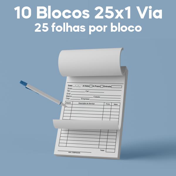01 -  QTDE: 10UNID. / BLOCOS E TALOES/25 FOLHAS/AP 75G/25X1/150X105MM