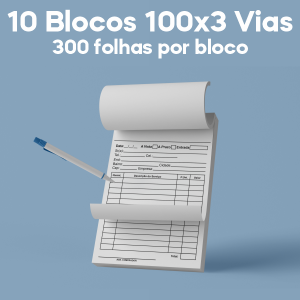 01 -  QTDE: 10UNID. / BLOCOS E TALOES/100 FOLHAS/AP 75G/100X3/300X210MM Apergaminhado 75g Tam. da arte: 300x210 - Tam. final: 297x207 1x0 10bl - 3x100fls, 3 via azul, Blocar bloco 100 unid Corte Reto Qtde: 10Unid. blocos 100x3 via