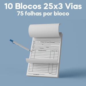 01 -  QTDE: 10UNID. / BLOCOS E TALOES/25 FOLHAS/AP 75G/25X3/150X105MM Ap 75g Tam. da arte: 150x105 - Tam. final: 147x102 1x0 10bl - 3x50fls, Blocar bloco 10 unid Corte Reto Qtde: 10Unid. blocos 50x3 via