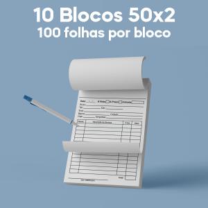 01 -  QTDE: 10UNID. / BLOCOS E TALOES/50 FOLHAS/AUTOCOPIATIVO 56G/50X2/150X210MM Apergaminhado 90g Tam. da arte: 150x210 - Tam. final: 147x207 1x0 10bl - 2x50fls, Blocar bloco 10 unid Corte Reto Qtde: 10Unid. blocos 50x2 via