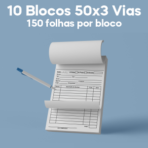 01 -  QTDE: 10UNID. / BLOCOS E TALOES/50 FOLHAS/AUTOCOPIATIVO 56G/50X3/300X210MM Autocopiativo 56g Tam. da arte: 300x210 - Tam. final: 297x207 1x0 10bl - 3x50fls, Blocar bloco 10 unid Corte Reto Qtde: 10Unid. blocos 50x3 via