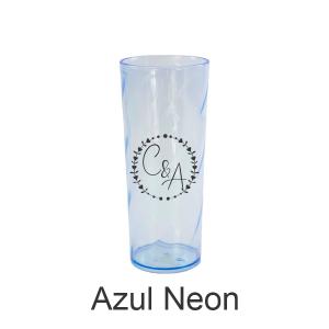 01 - Qtde: 25 Unid. COPO LONG DRINK / NEON /IMPRESSAO 4 COR / AZUL  Tam. da arte: 60x120 - Tam. final: 60x120 4x0 Sem verniz  BRINDE