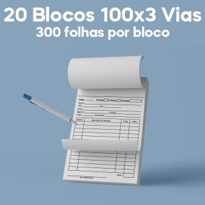 02 -  QTDE: 20UNID. / BLOCOS E TALOES/100 FOLHAS/AP 75G/100X3/150X210MM Apergaminhado 75g Tam. da arte: 150x210 - Tam. final: 147x207 1x0 20bl - 3x100fls, 3 via azul, Blocar bloco 100 unid Corte Reto Qtde: 20Unid. blocos 100x3 via