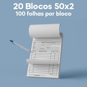 02 -  QTDE: 20UNID. / BLOCOS E TALOES/50 FOLHAS/AUTOCOPIATIVO 56G/50X2/150X210MM Apergaminhado 90g Tam. da arte: 150x210 - Tam. final: 147x207 1x0 20bl - 2x50fls, Blocar bloco 20 unid Corte Reto Qtde: 20Unid. blocos 50x2 via