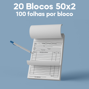 02 -  QTDE: 20UNID. / BLOCOS E TALOES/50 FOLHAS/AUTOCOPIATIVO 56G/50X2/300X210MM Autocopiativo 56g Tam. da arte: 300x210 - Tam. final: 297x207 1x0 20bl - 2x50fls, Blocar bloco 20 unid Corte Reto Qtde: 20Unid. blocos 50x2 via