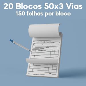 02 -  QTDE: 20UNID. / BLOCOS E TALOES/50 FOLHAS/AUTOCOPIATIVO 56G/50X3/300X210MM Autocopiativo 56g Tam. da arte: 300x210 - Tam. final: 297x207 1x0 20bl - 3x50fls, Blocar bloco 20 unid Corte Reto Qtde: 20Unid. blocos 50x3 via