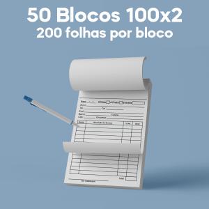 03 -  QTDE: 50UNID. / BLOCOS E TALOES/100 FOLHAS/AP 75G/100X2/150X210MM Apergaminhado 75g Tam. da arte: 150x210 - Tam. final: 147x207 1x0 50bl - 2x100fls, 2 via azul, Blocar bloco 100 unid Corte Reto Qtde: 10Unid. blocos 100x2 via