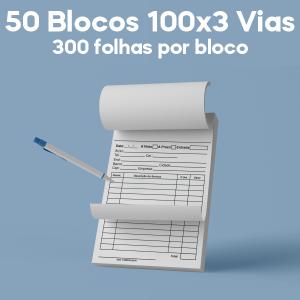 03 -  QTDE: 50UNID. / BLOCOS E TALOES/100 FOLHAS/AP 75G/100X3/300X210MM Apergaminhado 75g Tam. da arte: 300x210 - Tam. final: 297x207 1x0 50bl - 3x100fls, 3 via azul, Blocar bloco 100 unid Corte Reto Qtde: 50Unid. blocos 100x3 via