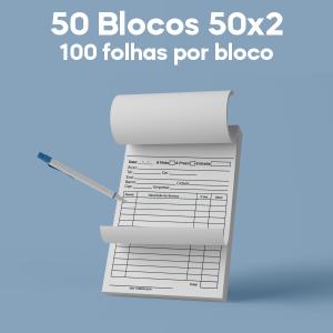 03 -  QTDE: 50UNID. / BLOCOS E TALOES/50 FOLHAS/AUTOCOPIATIVO 56G/50X2/300X210MM Autocopiativo 56g Tam. da arte: 300x210 - Tam. final: 297x207 1x0 50bl - 2x50fls, Blocar bloco 50 unid Corte Reto Qtde: 50Unid. blocos 50x2 via