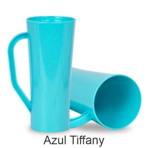 04 - Qtde: 400 Unid. COPO LONG DRINK COM ALÇA / LEITOSO / IMPRESSAO 4 COR / AZUL TIFFANY  Tam. da arte: 60x120 - Tam. final: 60x120 4x0 Sem verniz  BRINDE